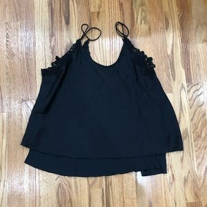 Free People Black Satin Cami with Lace